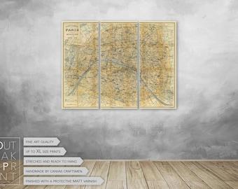 "Vintage Paris map Canvas Art Print Ready to Hang - LARGE on 3 panels 41""x 31"",092"