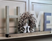 Burgundy and Cream Wreath HOME Sign / Fireplace Mantle Home Sign / Shelf / Coffee Table / Cabinet