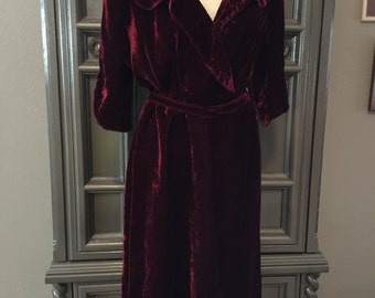 "Early 40s Silk Velvet Evening Dress 36"" waist"