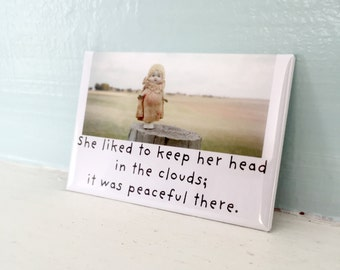 Head in The Clouds Magnet Funny Bisque Dolly Claudia Doll Fridge Decoration