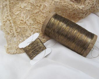 Metal Thread Antique French Early Century Gold Metal Thread - 10 yards total - More Available (#11A)