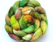 BFL - Seaweed roving top - Chartreuse, lime, terracotta, olive, leaf green colors - spinning wool braid - 4oz