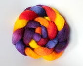 Aurora Astralis - BFL roving top - saturated bright colors - spinning wool braid - 4.1 oz - Spinning Mermaid