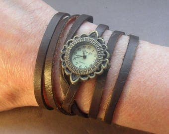 WRAP WATCH, bracelet watch, Vintage watch, calf leather watch, bronze watch, brown leather watch, wrist watch, gift for women, adjustable