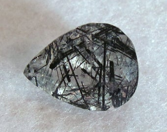 Tourmalinated Quartz with Black Needles Faceted Pear Tear Shaped Gemstone