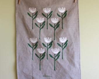 Australian Wildflower Hand Printed Tea Towel, White Waratah Design