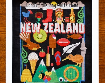 New Zealand Cross Stitch Pattern - Kiwiana - Digital PDF Pattern