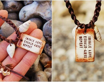 Custom Stamped Personalized Quote - Inspirational Quote Necklace - Clay Pendant Necklace - Healing Energy Spiritual Jewelry Gift