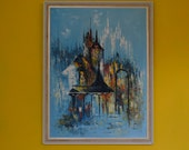 Mid Century Modernist Abstact Original Framed Painting, Signed