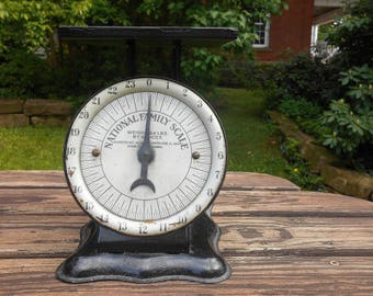 Antique National Family Scale Rustic Black Metal Kitchen 24 Pound Scale Farmhouse Country Kitchen American Cutlery Co. pat. June 17, 1913
