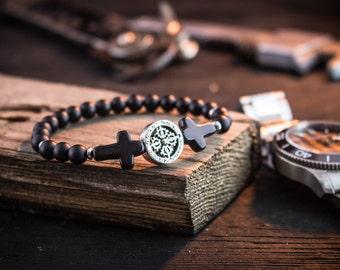 6mm - Black onyx beaded stretchy bracelet with crosses, made to order black bracelet, mens bracelet, womens bracelet, bead bracelet