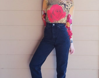 High Waisted LEE Black Denim Skinny Leg Mom Jeans // Women's size 25 26 XS Small S