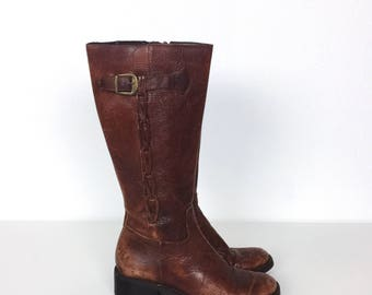 Vintage Brazilian Woven Brown Leather Buckled Boho Riding Boots // Women's size 5.5 6 36