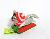 Reserved for CA - Annalee Mobilitee Mouse Winter Sled Collectible Meredith NH. Red White Scarf Collectible.