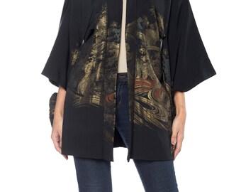 Black Kimono With Silver Ocean Weave Size: 16
