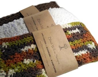 Dark Brown, White, & Camo Woodlands Washcloths, Set of 3, Hand-Crocheted 100% Cotton Washcloths