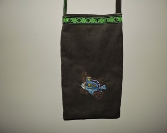RTS OOAK Machine Embroidered Pouch Steampunk Submarine Gift purse shoulder bag pocketbook ready to ship christmas gift