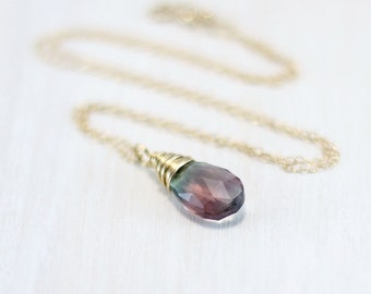 Rainbow Fluorite Necklace, 14k Gold Filled Fluorite Pendant Yellow Gold Wire Wrapped Pastel Gemstone Necklace