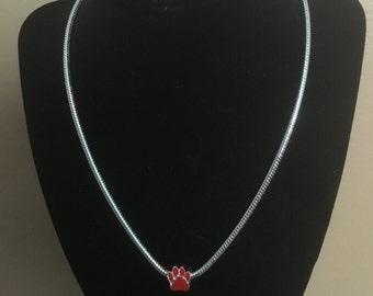 Enamel Paw Print Charm Necklace - All profits go to charity