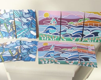 Papercut art sea print with whale, boat and lighthouse ACEO