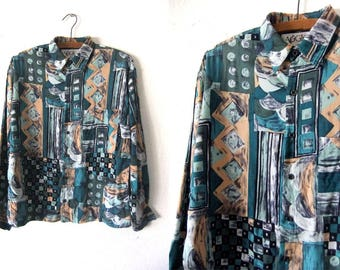 Pattern Block Abstract Shirt - Picasso Style Painterly 90s Boxy fit Long Sleeve Button Down - Womens Small