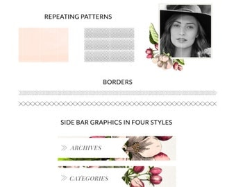 Blog and web kit, blog branding kit, web branding kit, pre-made blog graphics kit - Vintage floral