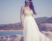 Bohemian Wedding Dress,Bridal Boho Gown,Long Wedding Gown,Romantic Wedding Dress,Gold Wedding Gown,Grecian Wedding Dress,Boho Long Dress
