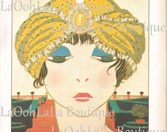 1911 Jasmine Genie Lepape Art Deco Wall Decor Poiret Turban Hat Millinery Fashion Makeup Beauty Arabian Princess Fortune Teller Mystic Print
