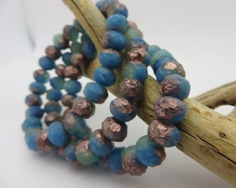 Rustic Denim Blue with Copper and Aqua Rustic ETCHED  CZECH Beads ( Choose Qty 12 -or- 25  ) Always Low Shipping!!!