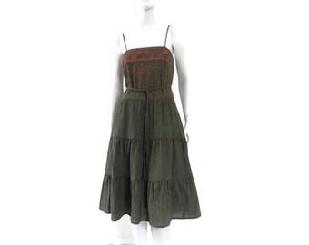 NOS Hand Printed Dress by Alfred Shaheen Army Green Gauze w/Metallic Print NWOT Size 12 Hawaii Fashion #94