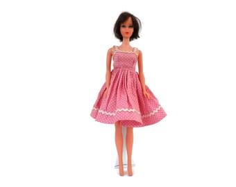 Jill or Little Miss Revlon Dress by Vogue Dolls 1958-60 Pink Polka Dot Sundress  #7401 Rick-Rack Trim Circle Skirt