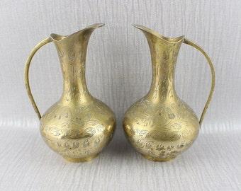 Pair of Vintage Brass Metal Etched Jug Ornaments