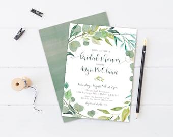 GREENERY watercolor, wreath, bridal shower invitation, baby, wedding, boho, garden, bohemian invite,
