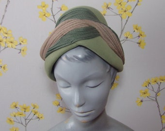1950s 60s Vintage Pastel Green Felt Hat Tilt Topper Pixie Hat Jersey Band 50s Topper Hat Jacoll