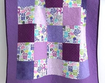 Modern Baby Girl Quilt featuring Woodland  Animals Michael Miller Fabrics Purple