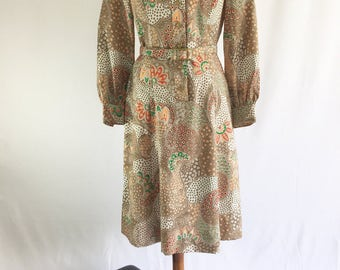Natucket Naturals paisley print dress / vintage dress / womens vintage dress / paisley print / 1970s dress / long sleeve dress/ psychedelic