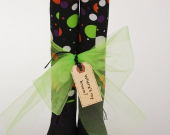 Halloween Witch Boots, Whimsical Halloween Witch Boots, Primitive Witch Boots, Wizard of Oz Witch