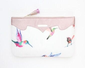 Bird print clutch bag. Leather handbag. Wedding clutch. Evening clutch. Bridesmaid clutch. Statement purse. White handbag. /SUMMER 12