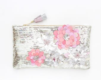 Sequin clutch bag. Small shoulder purse. Couture bag. Flower clutch bag. Embroidered evening bag. Bridesmaid gift. Bridal purse. /DREAM 8
