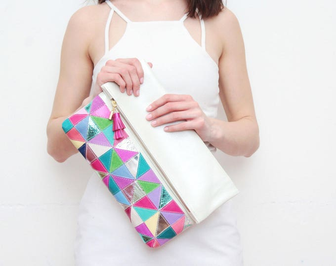 EDGY 3 / Large natural leather bag- leather purse-metallic leather bag-oversized clutch-handbag-geometric clutch-multicolored- Ready to Ship