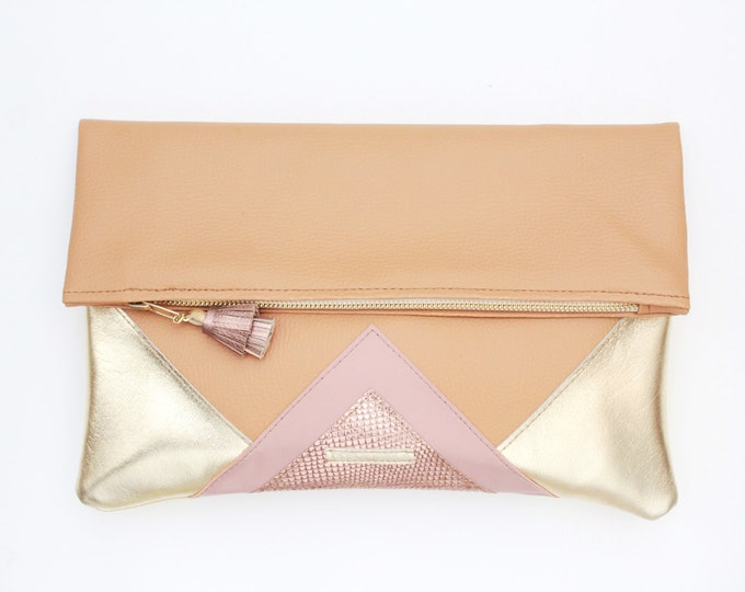 CARRIER 5 / Large clutch bag-leather purse-oversized metallic bag-camel rose gold nude leather purse-gold geometric statement clutch