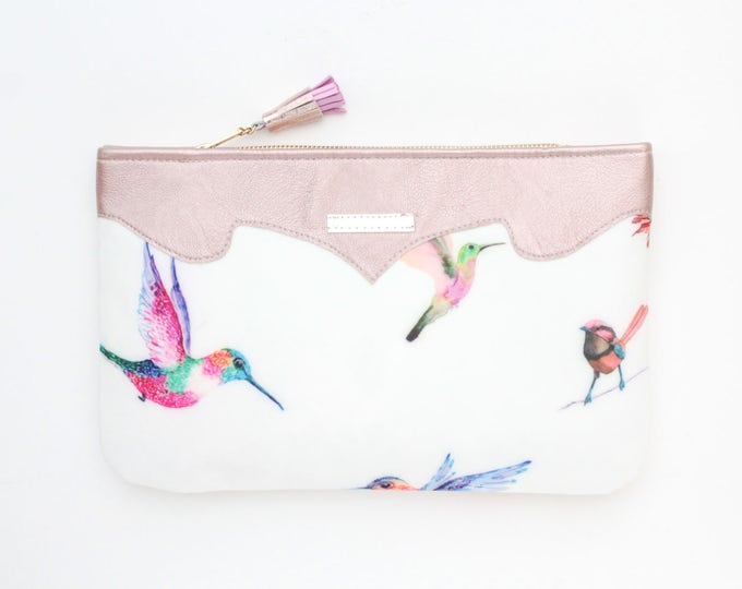 Bird print clutch bag. Leather handbag. Wedding clutch. Evening clutch. Bridesmaid clutch. Statement purse. White handbag. /SUMMER 12