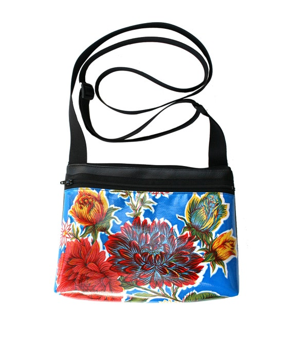 Blue, oil cloth, floral, boxy cross body, vegan leather, zipper top