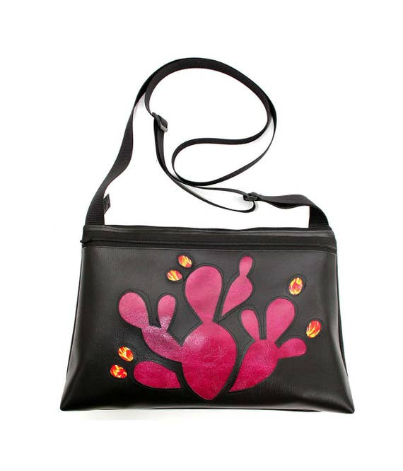 Prickly Pear cactus, hot pink, black vinyl, medium crossbody, vegan leather, zipper top