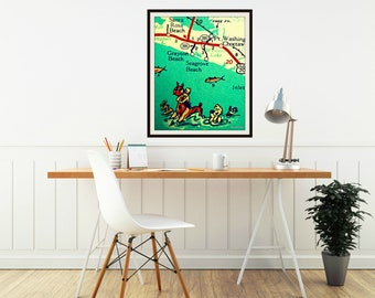 Vintage 30A Map Art, 30A Gift Husband gift from Wife, Husband Christmas Gift, Seagrove, Seaside, Grayton Beach wedding guestbook alternative
