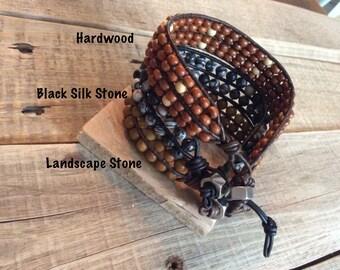 Men's Leather Wrap bracelet - Leather Bracelet - Men's Gift - Men's Bracelet -  Rocker Biker Bracelet