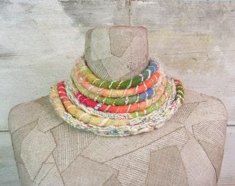 Infinity scarf , knit loop , Long Wrap , boho clothing , Knitted rope scarf , white rainbow, felt , scarves bohemian , handspun yarn