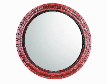 Red Mosaic Mirror, Round Wall Mirror