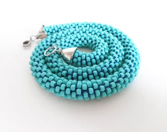 Turquoise Necklace // Short Rope Necklace // Beaded Rope Necklace // Summer Necklace // Bead Crochet Necklace // Crocheted Short necklace