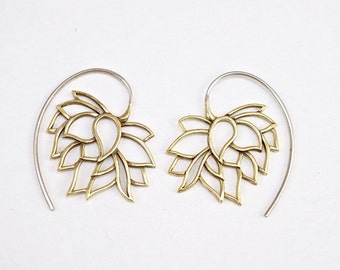 Lotus Earrings - Hoop Earrings - Tribal Earrings - Drooping Lotus Earrings